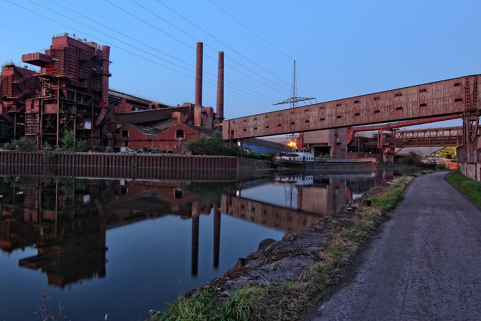 Belgium, Hainaut, Charleroi, Industry, Blue Hour