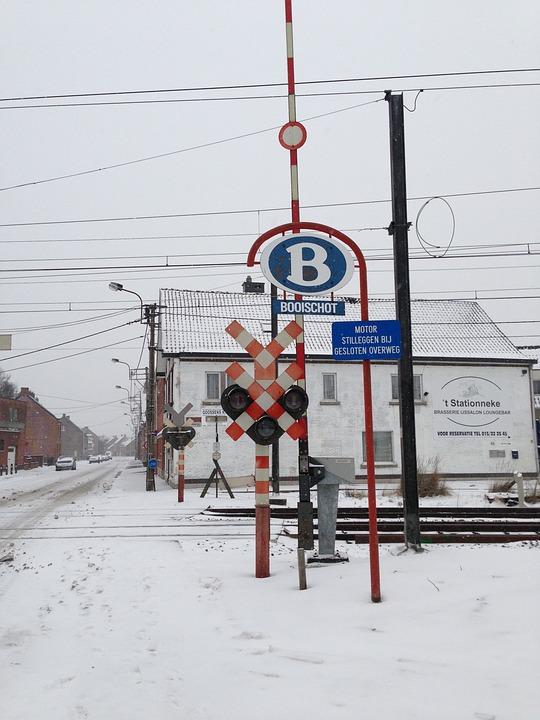 Railway Crossing, Booischot, Belgium, Track, Railway