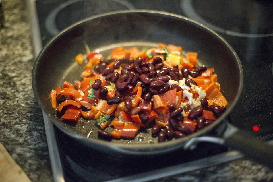 Food, Cook, Kitchen, Stir, Pan, Stove, Bell Pepper