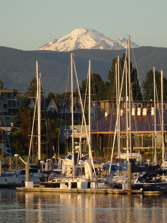 Bellingham, Mountain, Harbor, Boats, Marina, Washington