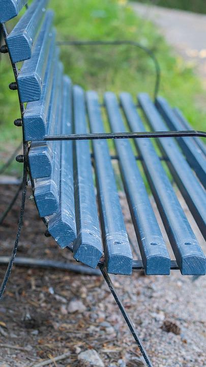 Bench, Blue, Outdoor, Summer, Sit, Relax, Park, Scene