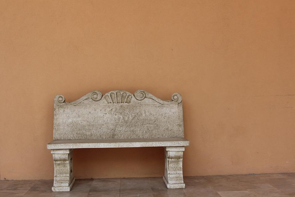 Israel, Caesarea, Stone Bench, Museum, Bench, Brown