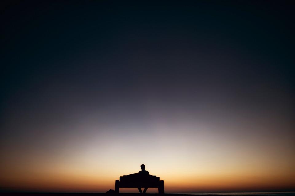 Bench, Dark, Dawn, Dusk, Evening, Landscape, Man