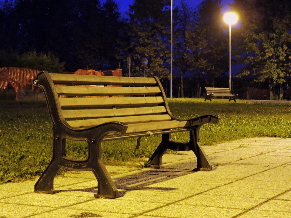 bench night light lighting park solitude nothing bench lighting