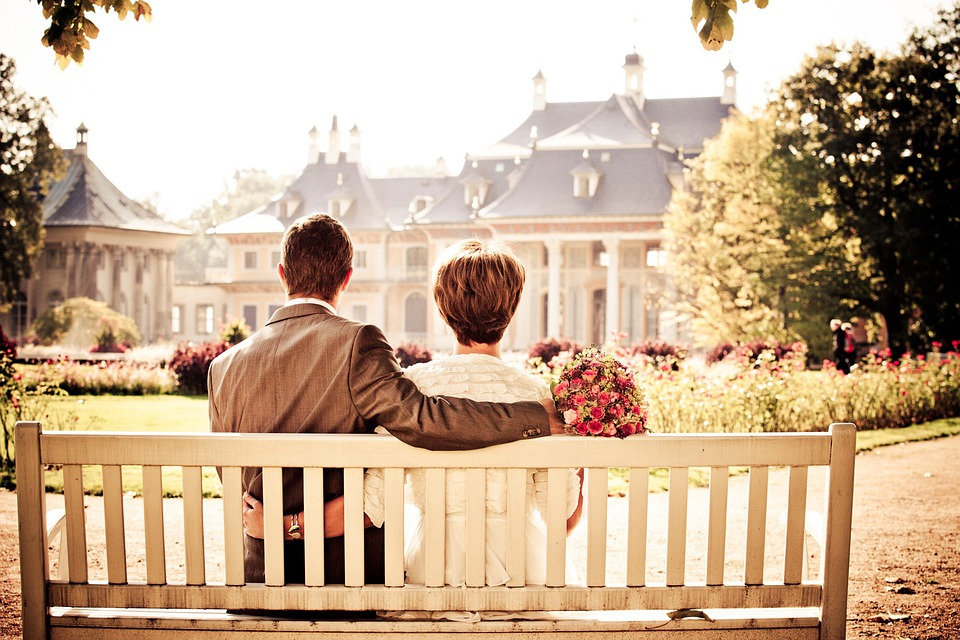 Couple, Bride, Love, Wedding, Bench, Rest