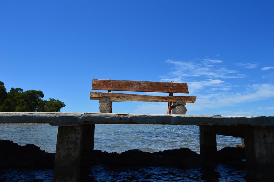 Bench, Pier, Sea, Sky, Blue, Summer