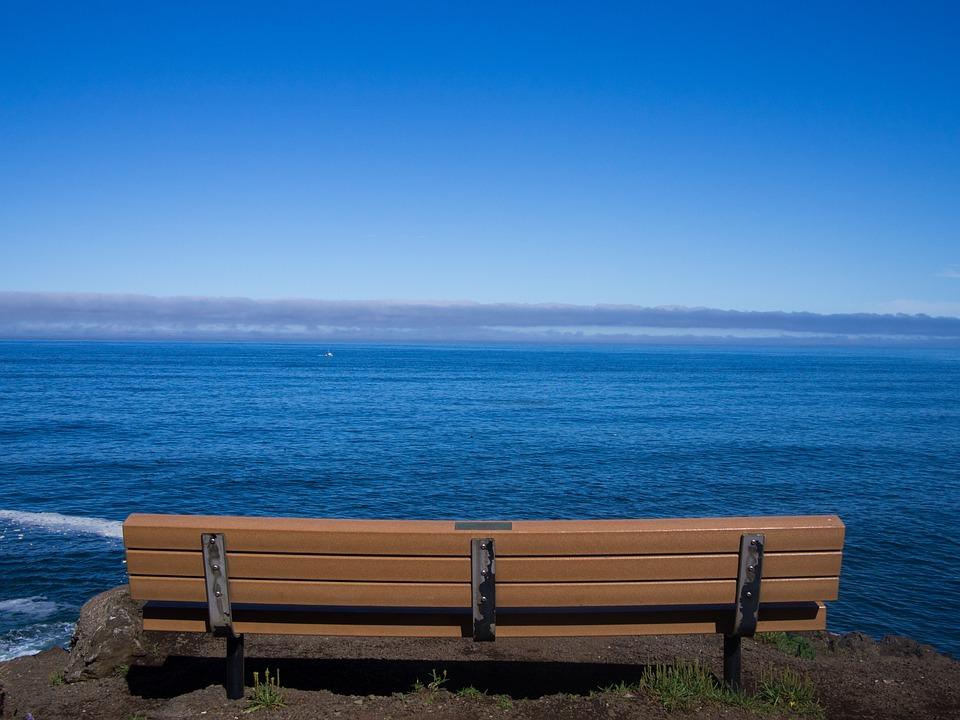 Bench, Sea, Sky, Blue, Twilight, America, Travel