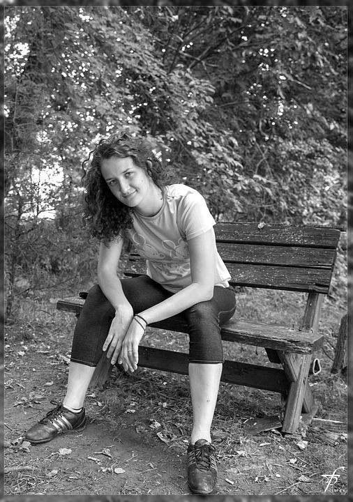 Black White, Bench, Female, Woman, Beautiful, Park