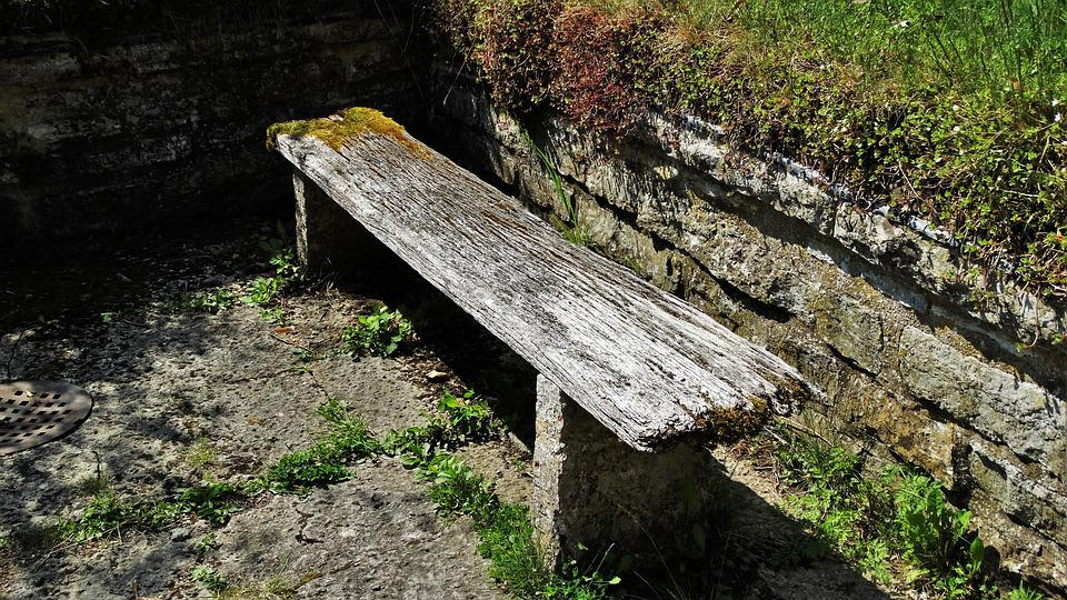 Bench, Rotten, Worn, Wooden Bench, Moss