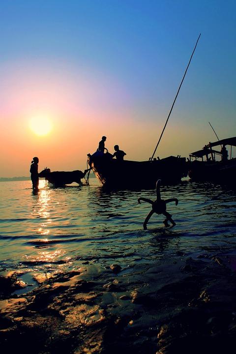 Sunset, River, Bengal, Village, Sky, Blue, Nature