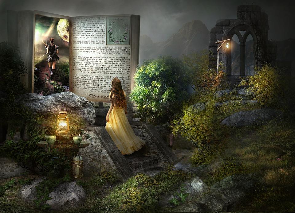 Fantasi, Wanita, Berdiri, Anak Tangga, Menatap, Buku
