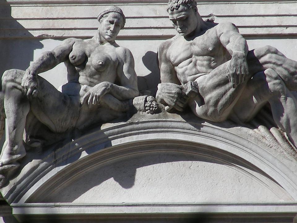 Bergamo, Statues, Italy, Italian, Building