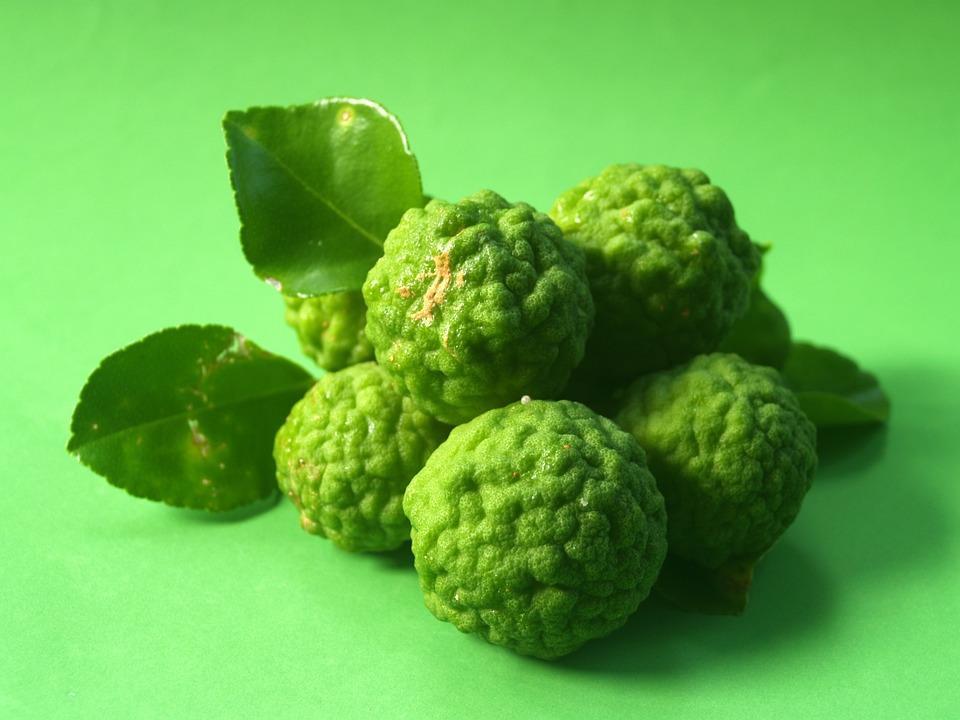 Bergamot, Fruit, Leaf, Isolated, Thailand, Rough, Lemon