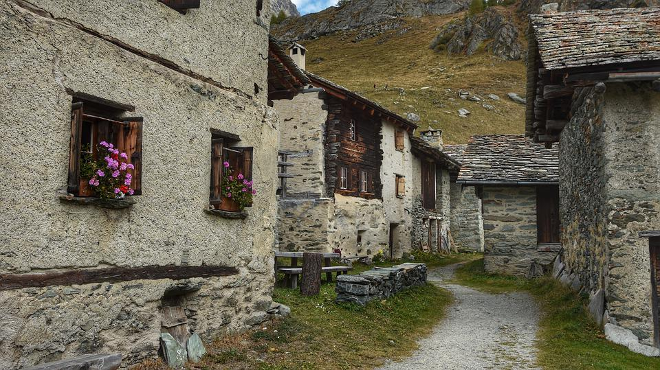 Bergdorf, Stone House, Building, Village, Stone Houses