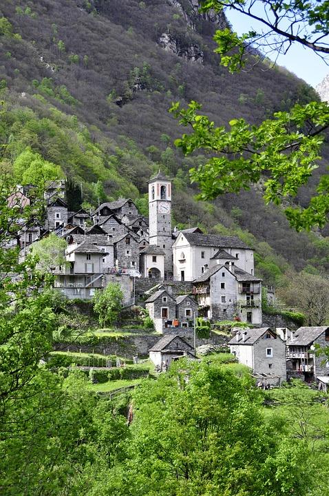 Alpine, Bergdorf, Village, Ticino, Church, Stone House