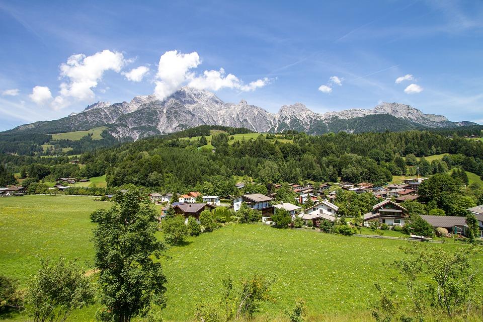 Mountains, Salzburg, Bergdorf, Village, Homes, Clouds
