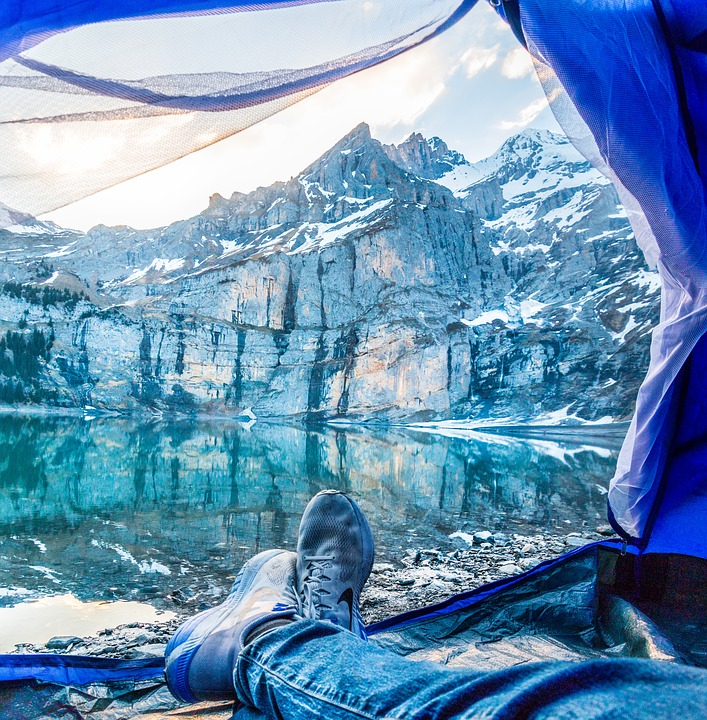 Feet, Tent, Bergsee, View, Lake Oeschinen
