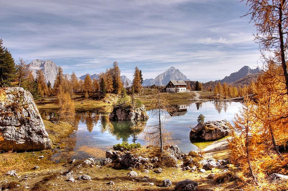 Rifugio Croda Da Lago, Dolomites, Bergsee, Nature