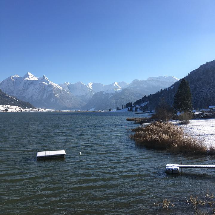 Landscape, Waters, Mountains, Lake, Snow, Bergsee