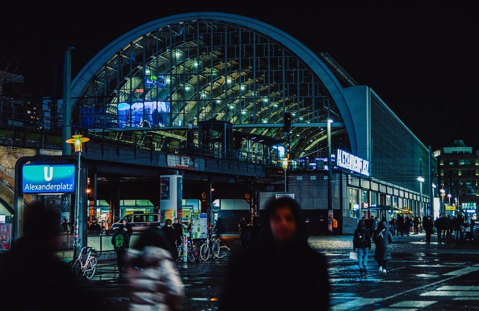 Railway Station, Alexanderplatz, Berlin, Night, Road