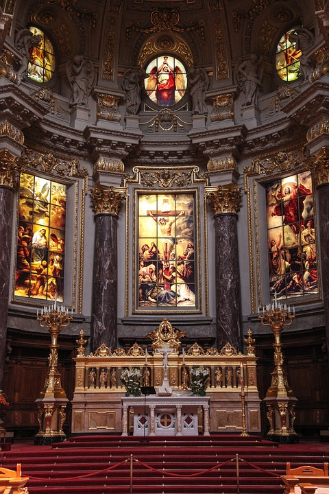 Church, Ceiling, Catholicism, Architecture, Berlin, Dom