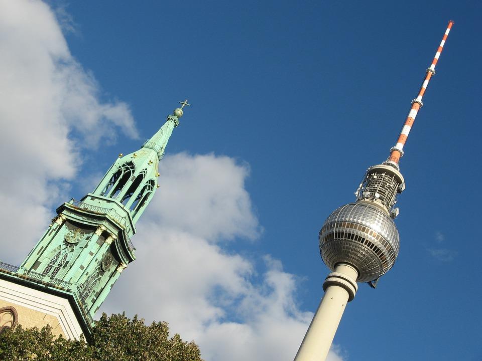 Berlin, Tv Tower, Contrast, Church, Steeple