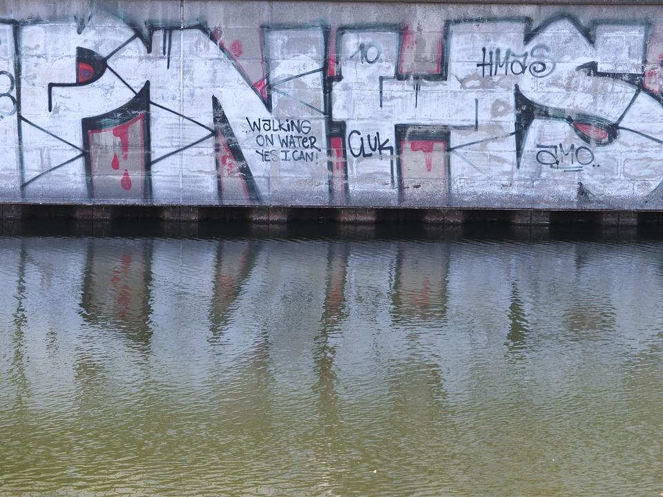 Graffiti, Water, Mirroring, Wall, Berlin