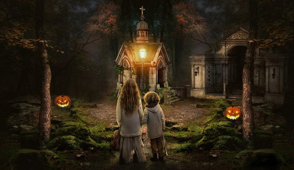 Anak Anak, Bermain, Berdiri, Menatap, Lampu, Cahaya