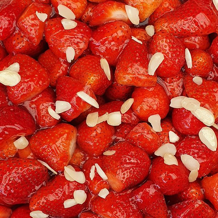 Strawberries, Berries, Fruits, Food, Almond Slivers