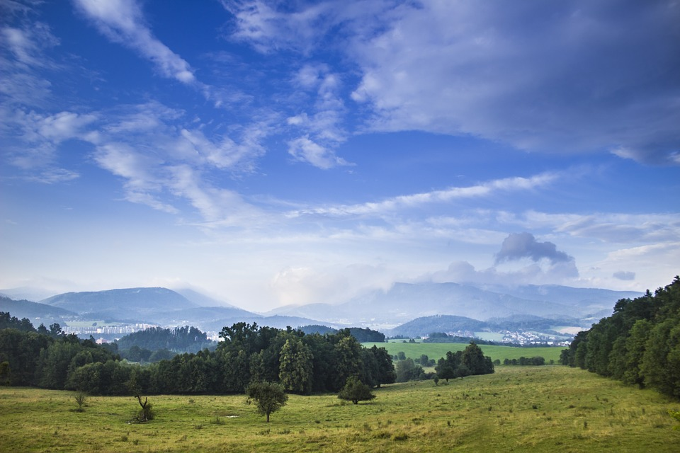 Blue Sky, Landscape, Meadow, Mountains, Beskydy, Nature