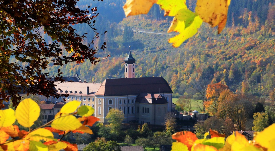 Autumn, Leaves, Monastery, Beuron, Danube Valley