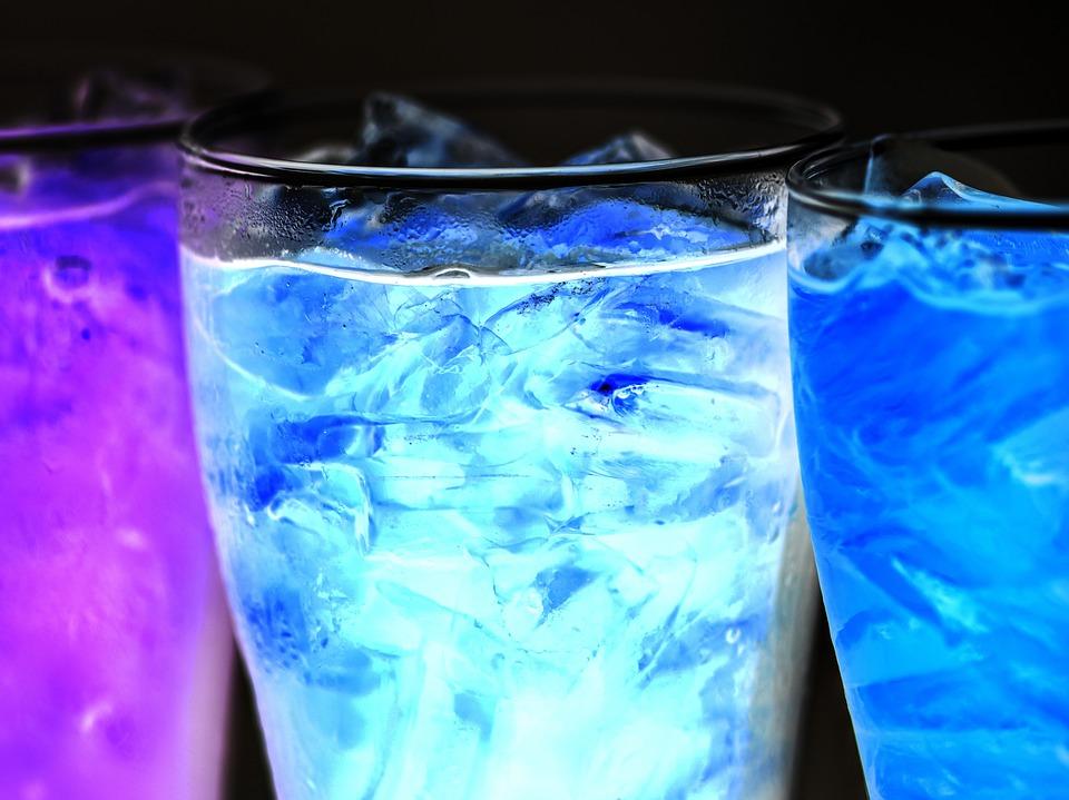 Background, Beverage, Black Background, Blue, Bubble
