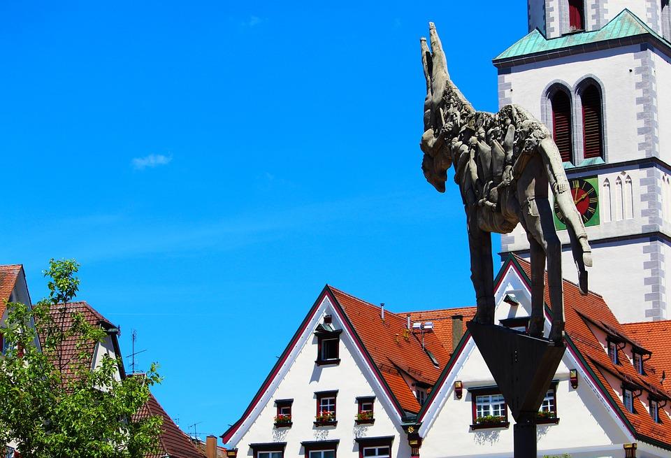 Biberach A, D, Crack, Monument, Statue, Wieland