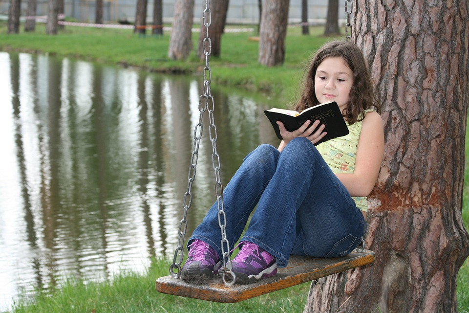 Bible, Vera, Girl, Christian, Swing, Reading