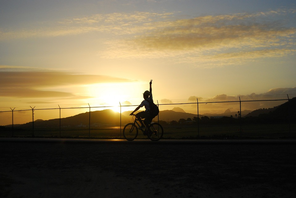 Cyclist, Bicyclist, Biker, Bike, Bicycle, Cycle, Sunset