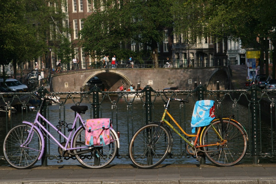 Bicycle, Bridge, Amsterdam, Netherlands, Canal, Water