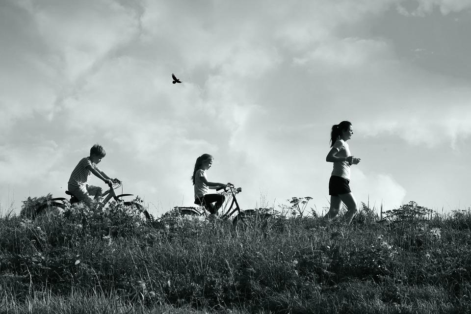 Child, Woman, People, Walking, Exercise, Bicycle