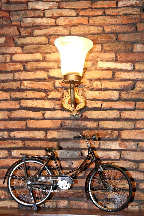 Bicycle, Design, Creativity, Brick Wall, Lamp