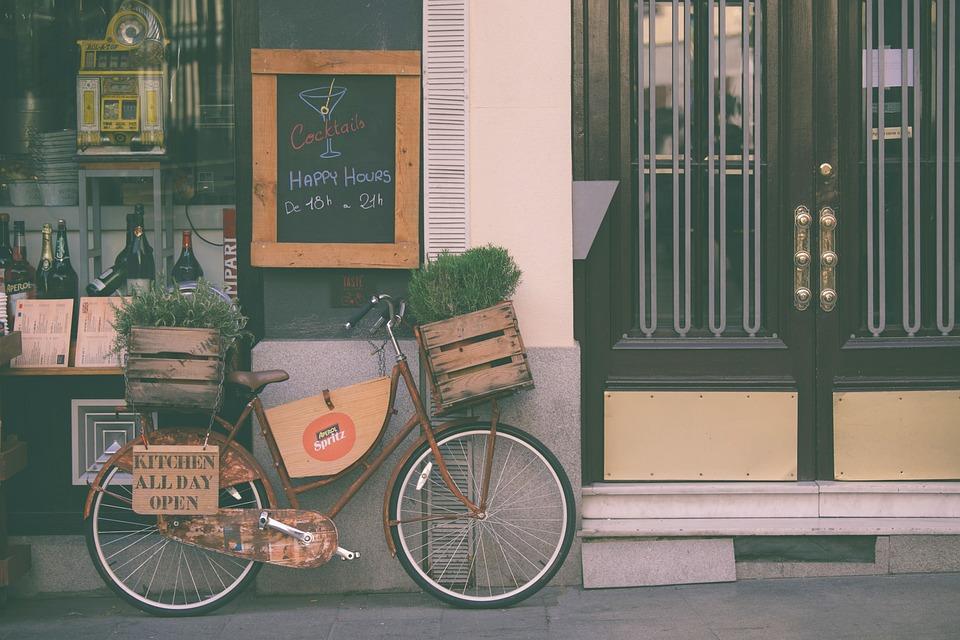 Bicycle, Bike, Building, Door, Pavement