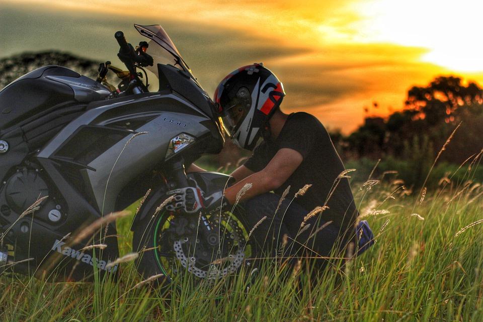 Super Bike, Kawasaki, Ninja, Bicycle, Biker, Helmet