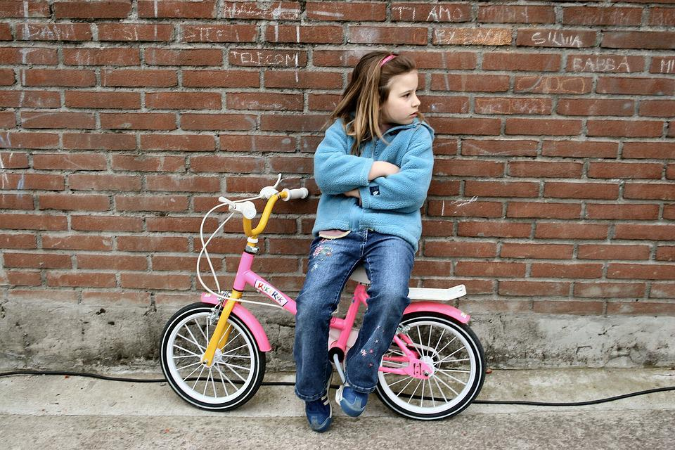 Little Girl, Bicycle, Boredom, Child, People, Young