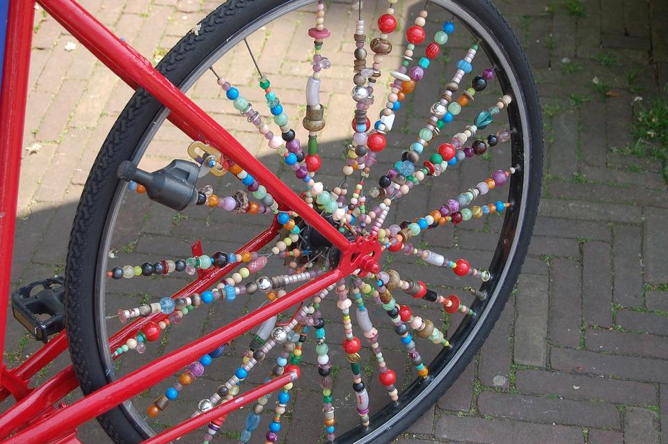 Bicycle, Beads, Art, Rear, Wheel, Bicycle Wheel