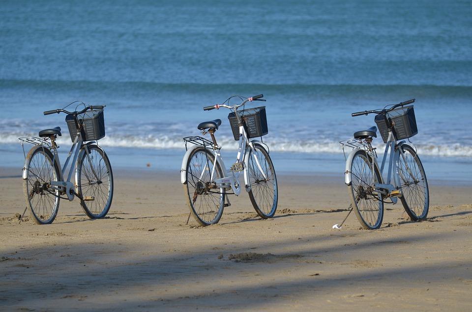 Bicycle Rental, Beach, Bicycle Basket, Myanmar