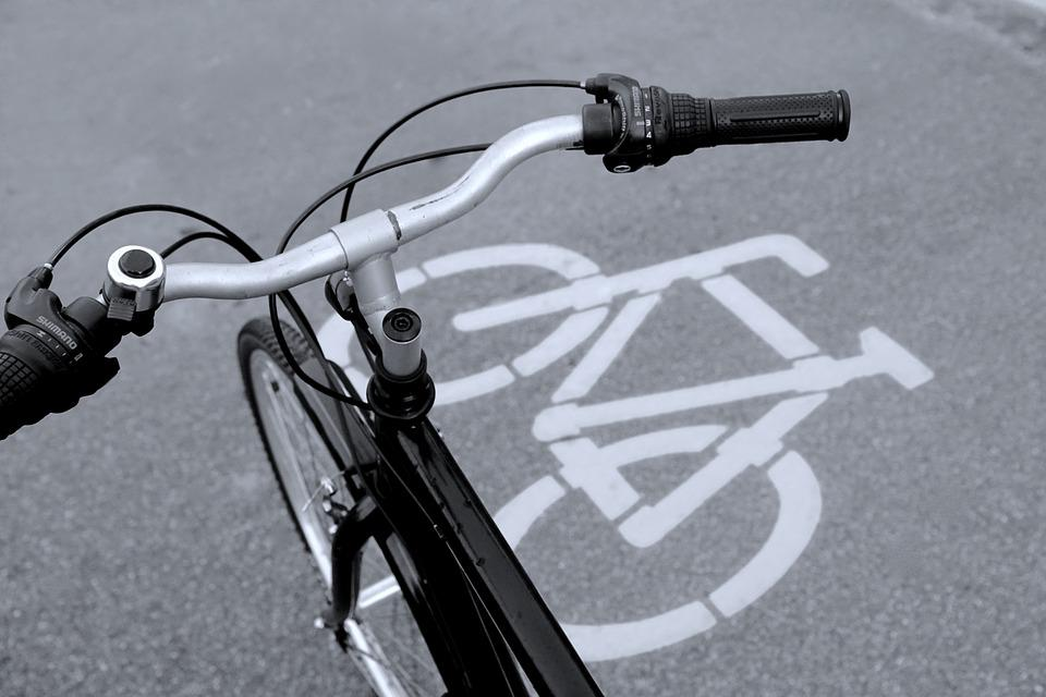 Bicycle Path, Bicycle Signs, Bike, Black And White