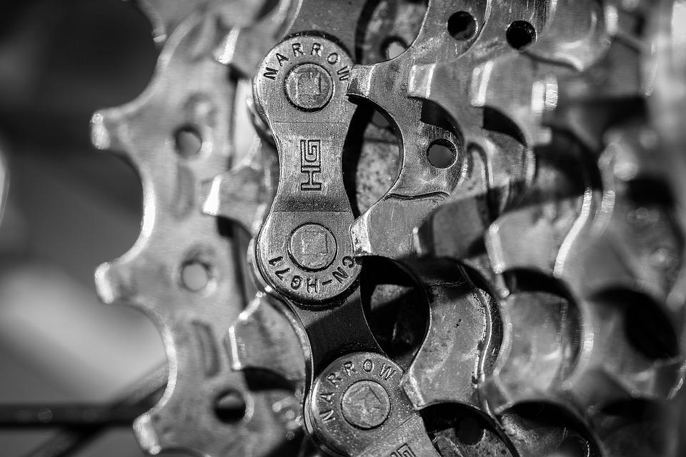 Gears, Bicycle, Chain, Transmission, Metal, Bike