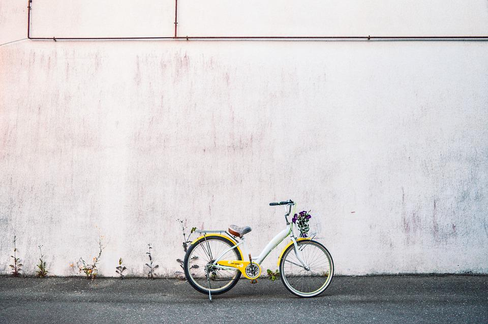 Bike, Bicycle, Yellow, Flower, Lifestyle, Wall, Old