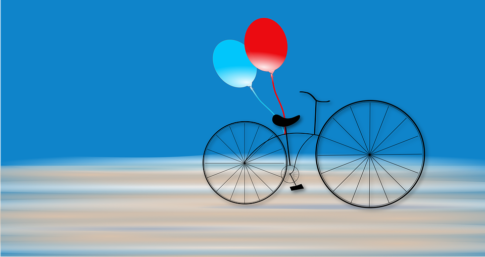 Bicycles, Balloons, Blue