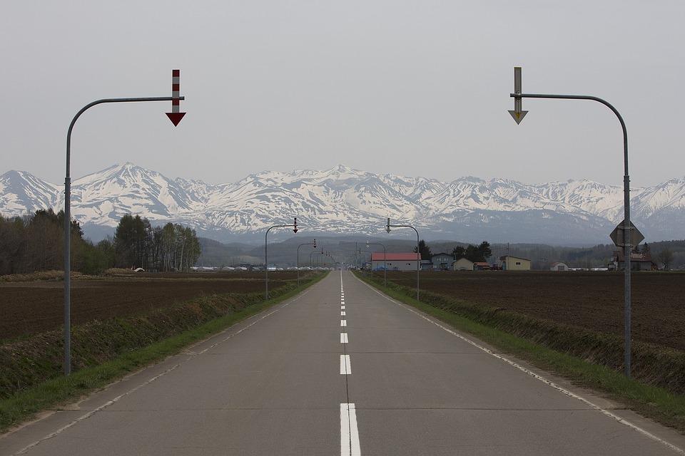 Gil, Road, Hiking, Biei, Hokkaido, Japan, Snow