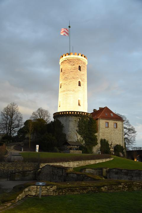 Sparrenburg, Bielefeld, Tower, Twilight, Historically