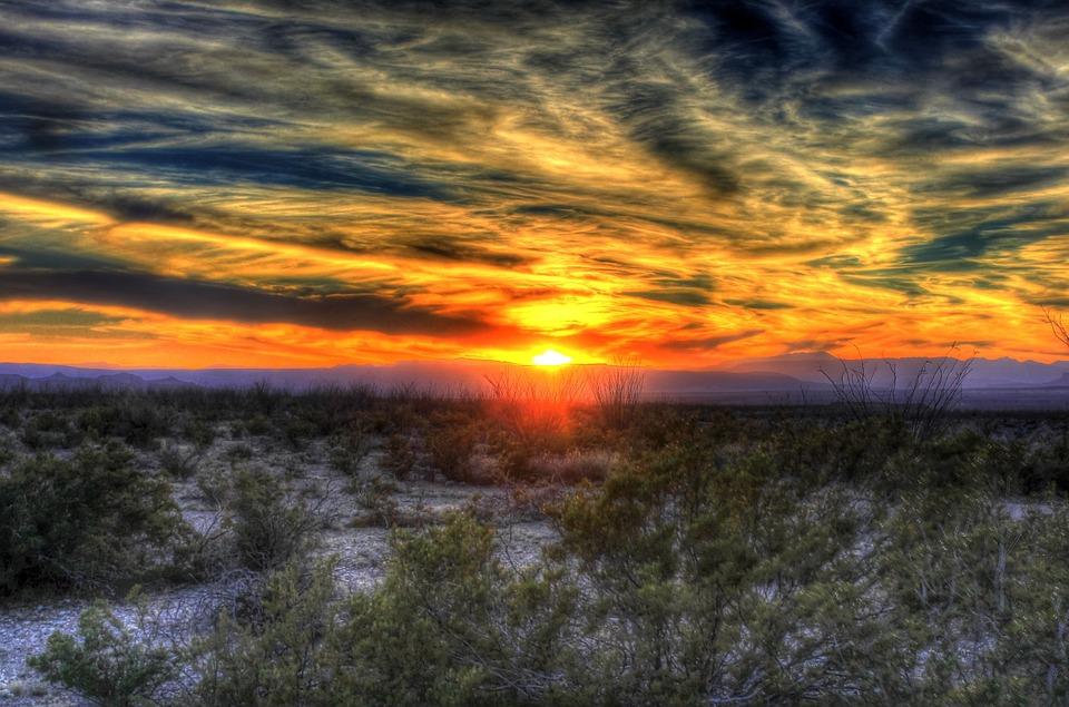 Sunset, Desert, Texas, Big Bend, Sky, Clouds